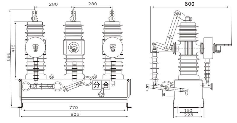 ZW43A-12 type outdoor high voltage vacuum circuit breaker