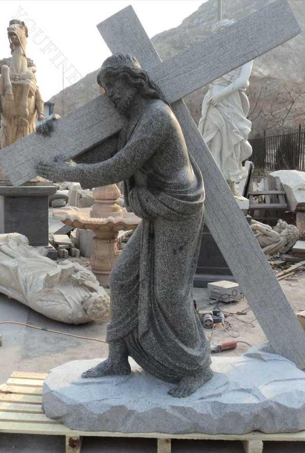 Catholic Garden Marble Sculptures Jesus Carrying Cross