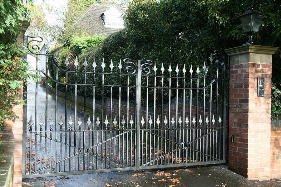Modern front door metal art swings driveway iron entry