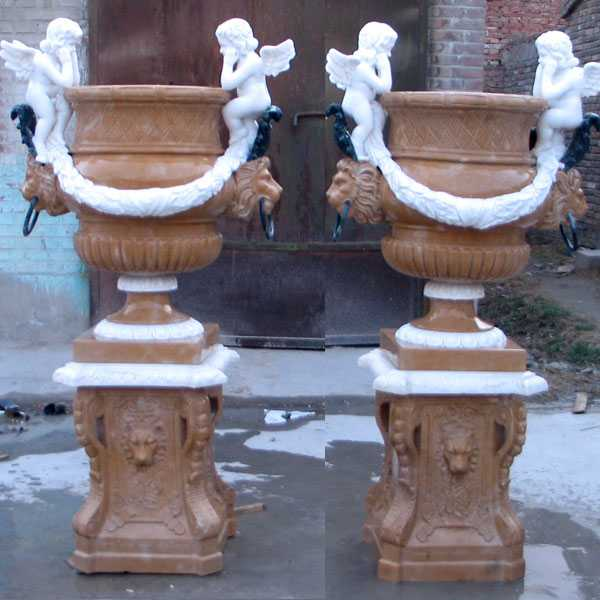 Hand Carved Outdoor Natural Marble Planter With Angel For