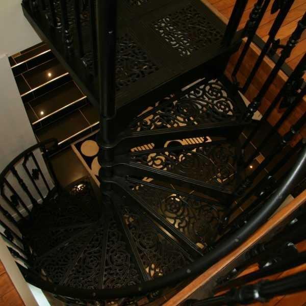 Black Modern Metal Wrought Iron Round Stair Railings Interior For   Modern Black Metal Stair Railing   Minimalist   Metal Spindle   Simple Two Story House   Dark Wood   Rustic