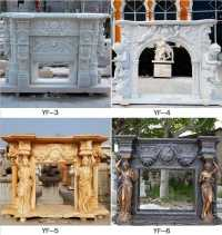 Expensive Antique Fireplace Mantels Natural Stone Yellow