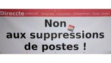 banderole manifestation non aux suppressions de postes direccte grand est strasbourg