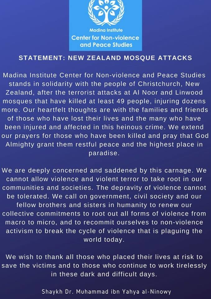 Statement: New Zealand Mosque Attacks