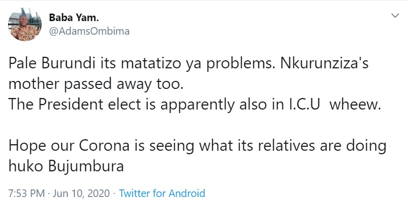 A Kenyan on Twitter reacts to the claims doing rounds online