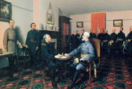 painting of Civil War meeting over desk