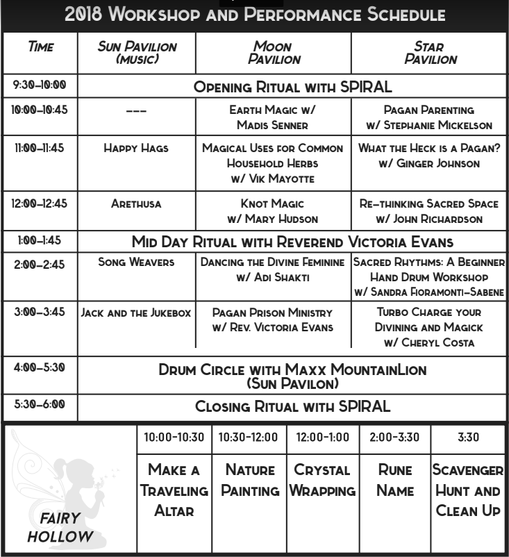 2018 Central New York Pagan Pride Day Schedule of Events
