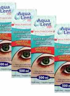 Combo 4 Aqualent 500 Solución Liquido Lente Contacto Estuche