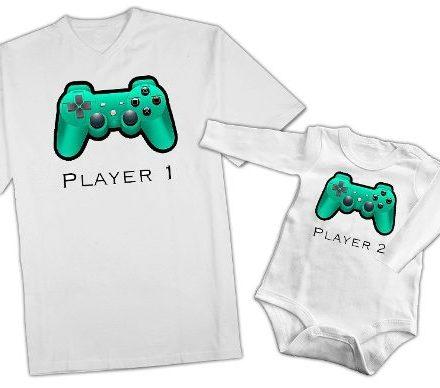 Combo Remera Padre E Hijo -player- Bebe Body Mejor Para Papa