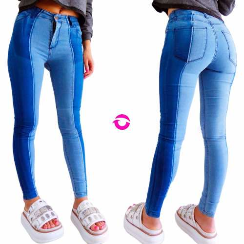 Chupin Alto Jean Jeans Combinado Elastizados Mujer Tiro xPxqwfEIa
