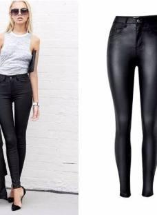 Pantalón Cuero Mujer Elastizado Tiro Alto Engomado Calza