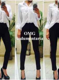 Pantalón Mujer Chupin De Vestir Tiro Alto Gabardina Talles