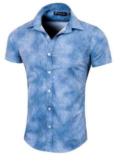Camisa Mixteil Slim Fit Denim Manga Corta