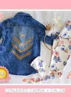 Conjunto Nenas Calza Algodon +camisa Jeans Nevada Transfer