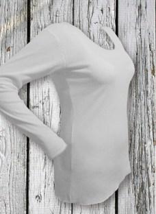 Camiseta Manga Larga De Mujer 100% Algodon Cuello Redondo