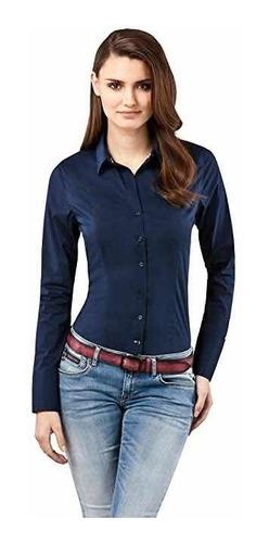 Camisa Dama Elastizada Entallada Varios Colores Exc. Calidad