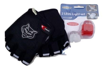Luz Para Bici 3 Posiciones Siliconada + Guante Dedo Corto