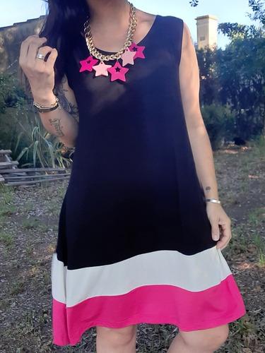 Vestido Amplio Tricolor Viscosa Algodon Con Lycra