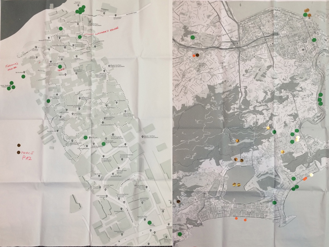 Data gathered on two large shared maps as a basis for the group discussion Photo credit: Oscar Natividad Puig