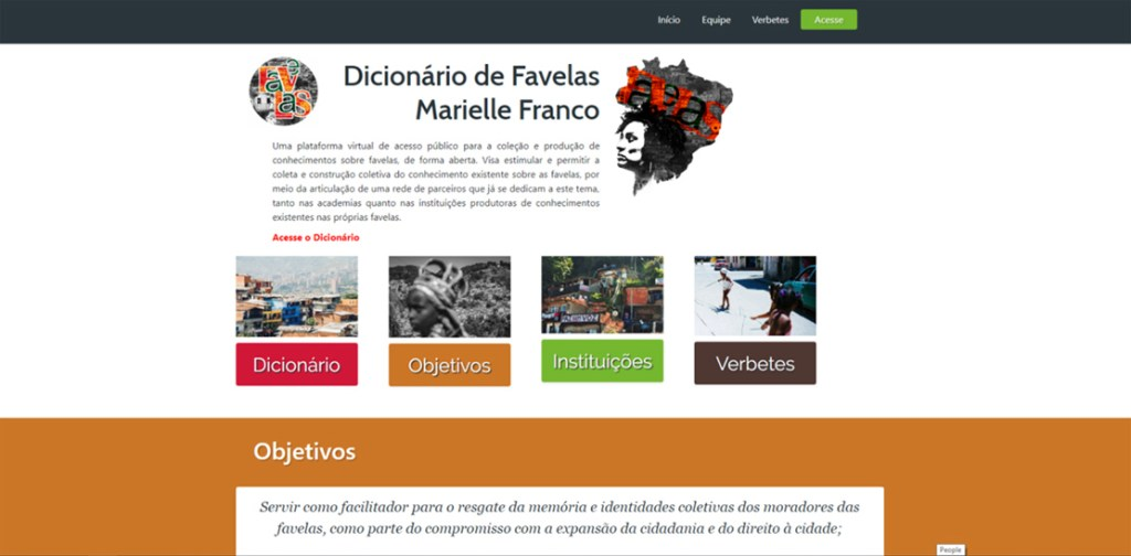Marielle Franco Dictionary of Favelas homepage: wikifavelas.com.br