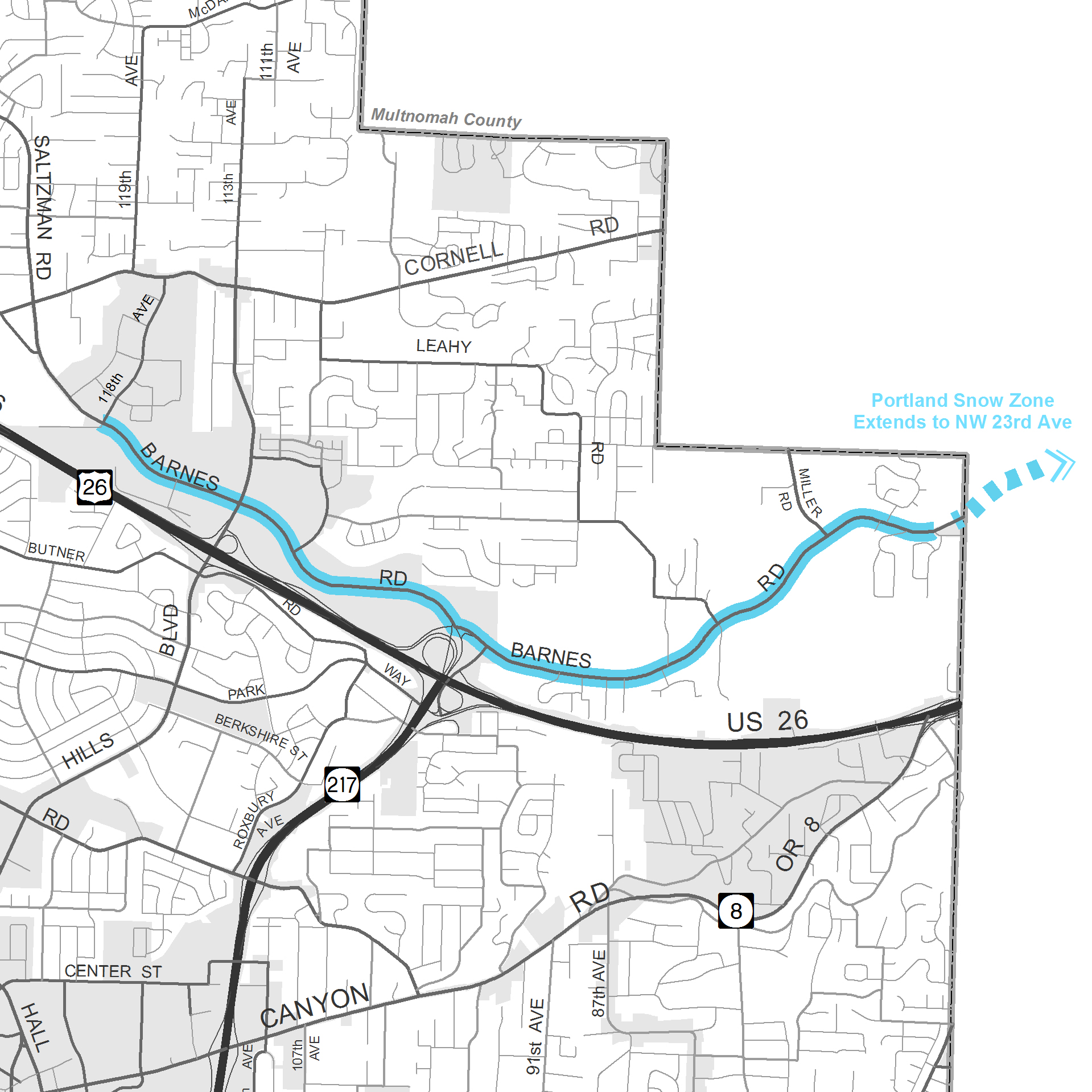 Snow zones implemented in Washington County