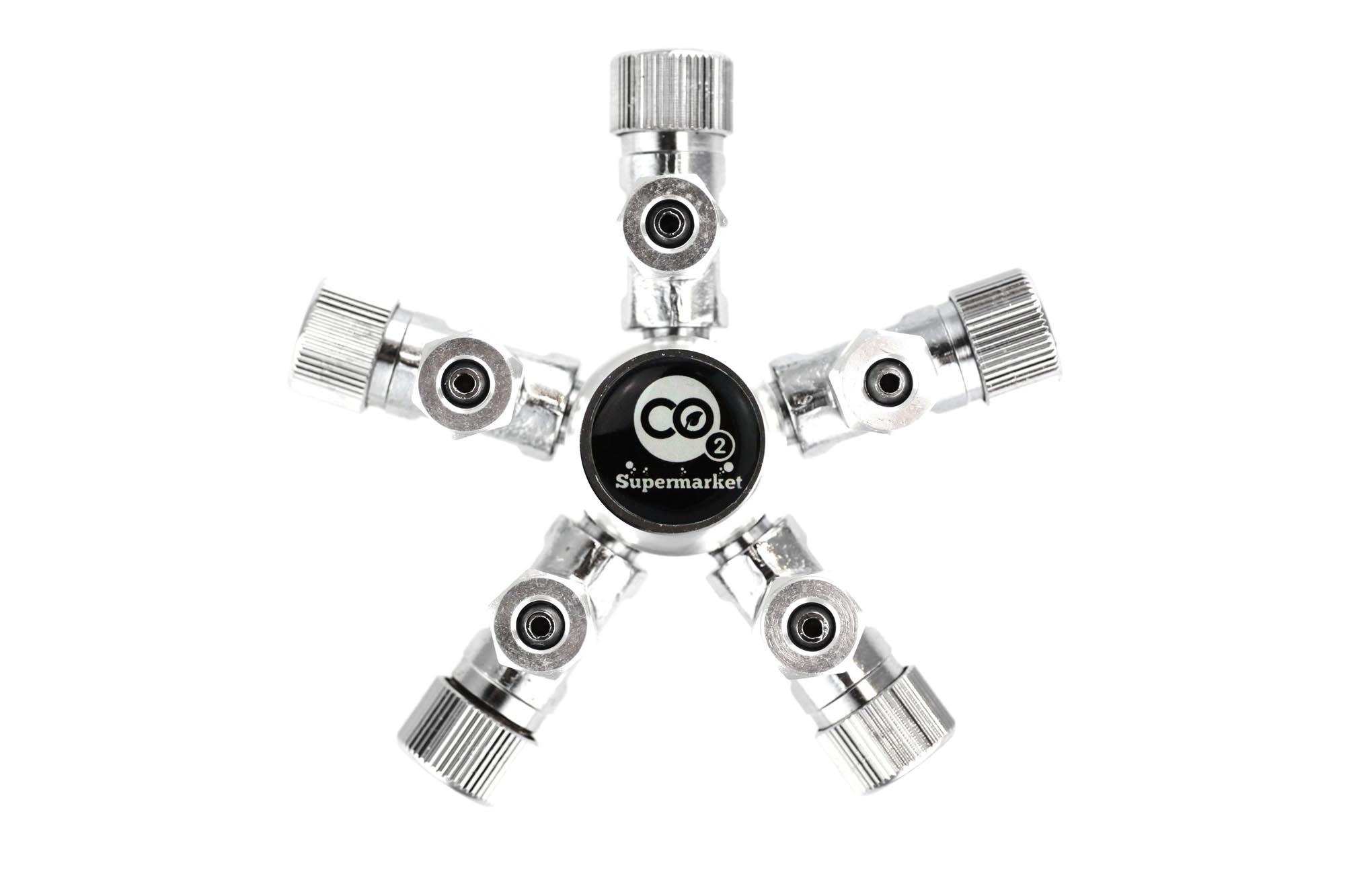 Aquarium 5 Way Co2 Splitter For Solenoid Or Regulator