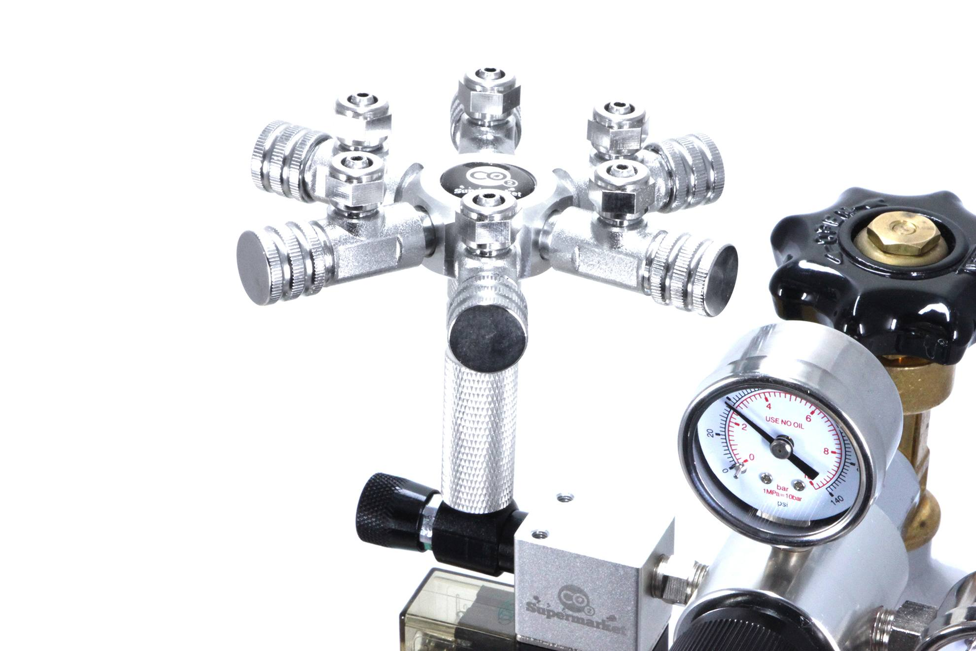 Aquarium 6 Way Co2 Splitter For Solenoid Or Regulator