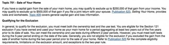 Live-in Flip - tax law