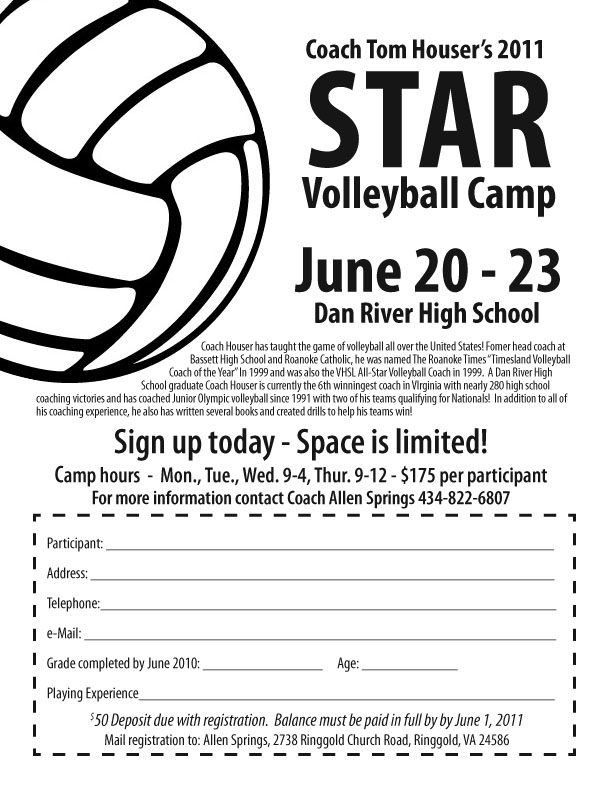 STAR Volleyball Camp at Dan River High, Ringgold, Virginia