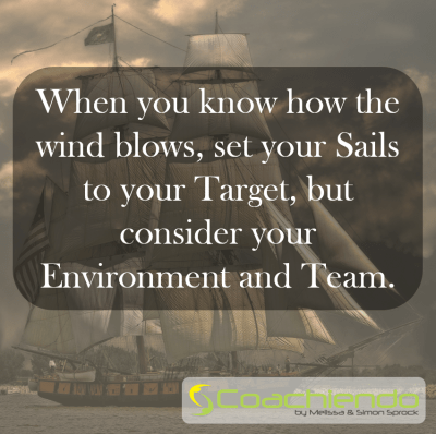 When you know how the wind blows, set your Sails to your Target, but consider your Environment and Team.