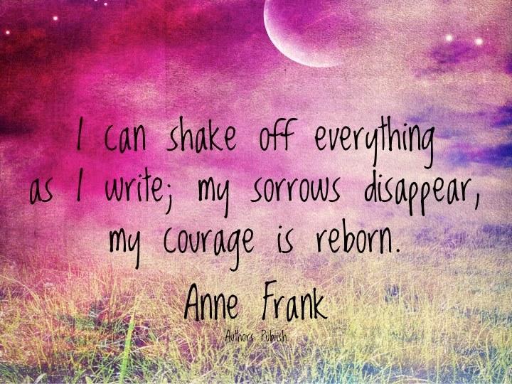 Afbeelding met quote van Anne Frank over dagboek schrijven