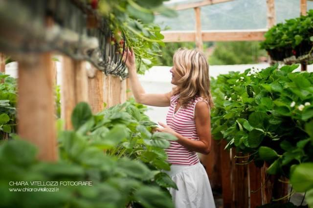 Benedetta Salutini, giovane imprenditrice di Carrara (Toscana) all'interno delle sue serre coltivate a fragole