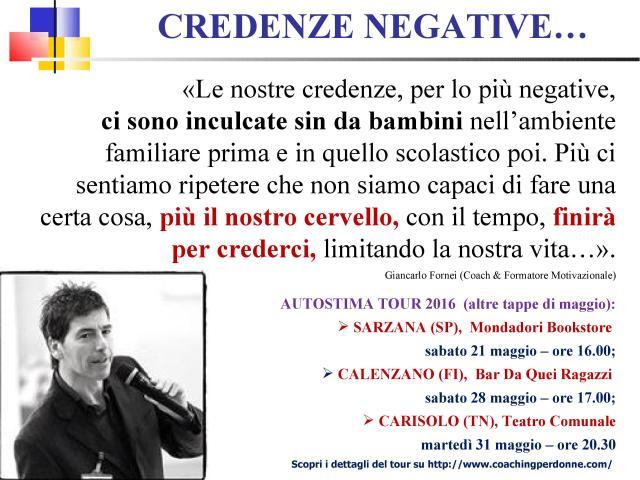 CREDENZE NEGATIVE - una frase del coach motivazionale Giancarlo Fornei (15 maggio 2016)