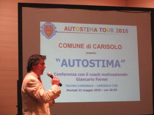 Autostima Tour 2016 - Carisolo (TN) 31 maggio, Giancarlo Fornei comincia la sua conferenza
