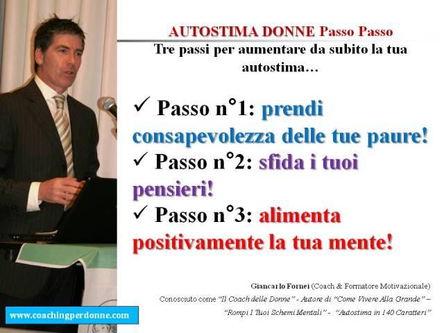 AUTOSTIMA DONNE Passo Passo - 3 passi per creare autostima in una donna - una frase del coach motivazionale Giancarlo Fornei (4 ottobre 2017)