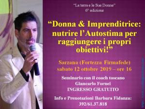 Donna & Imprenditrice: nutrire l'autostima per raggiungere i propri obiettivi! - Autostima - Sarzana 12 ottobre 2019 - conferenza di Giancarlo Fornei