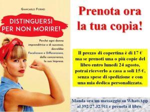 Prenotazione Distinguersi per Non Morire - il nuovo libro del coach Giancarlo Fornei, in promozione sino al 24 agosro 2020