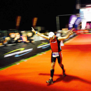 Team Qwik Kiwi member finishing Taupo Ironman