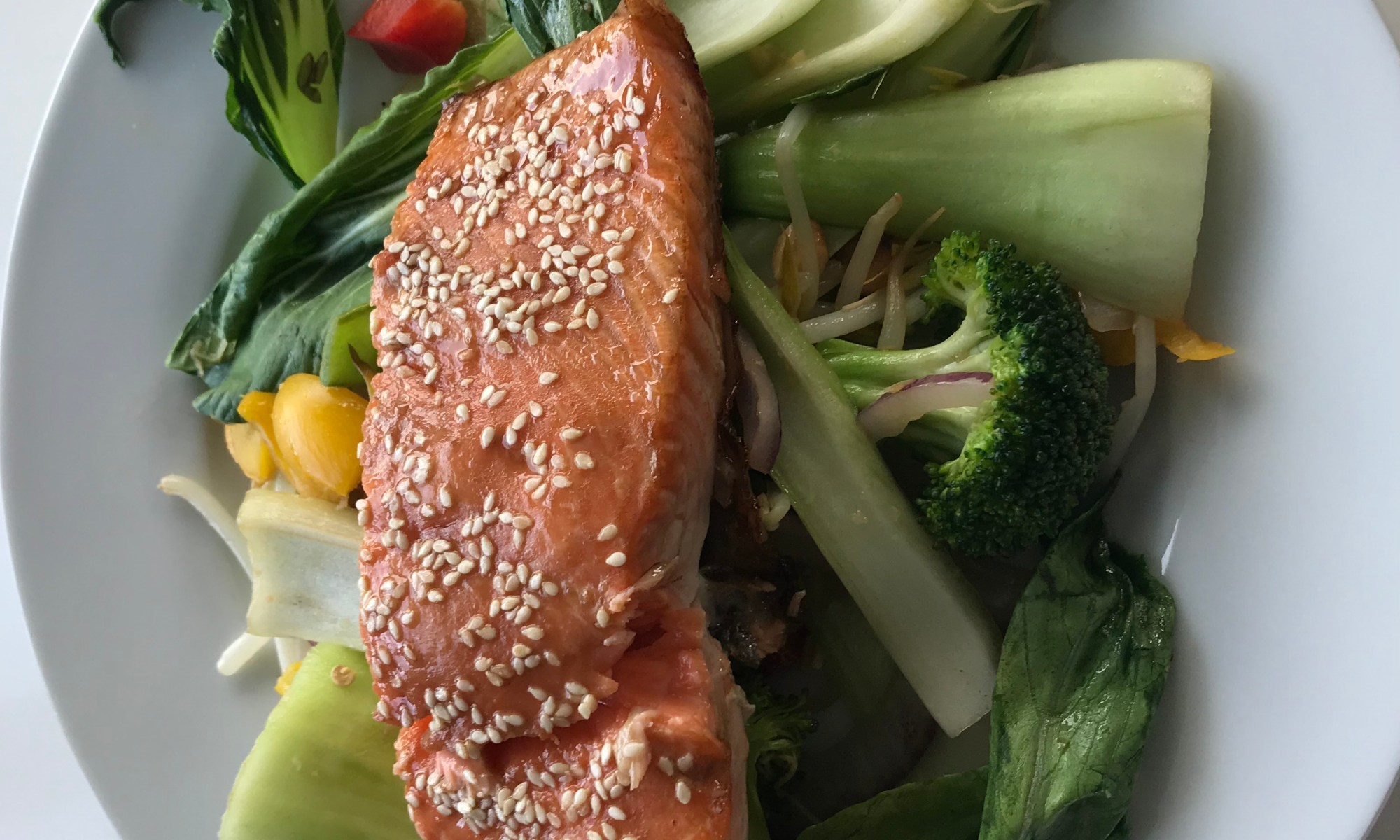 Sesame Seed Roasted Salmon with Stir-fried Vegetables