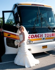 Bride  groom getting ready to enter large coach tours charter bus also wedding transportation options ideas for your special day rh coachtour