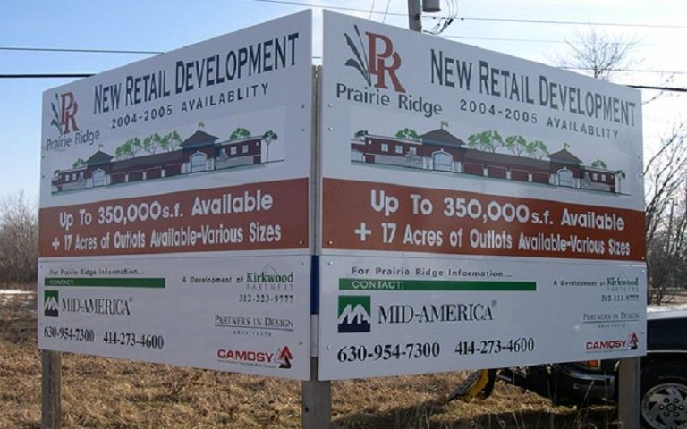 new development real estate construction billboard signage