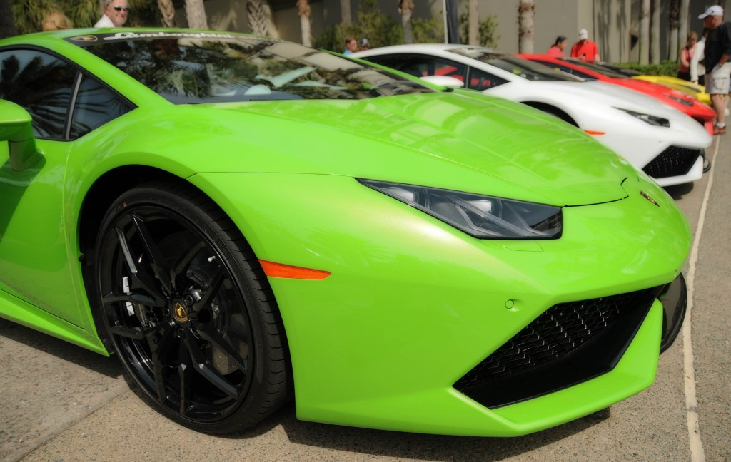 A row of Lamborghinis at the 2016 Concours d'Elegance.