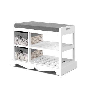 Wooden Storage Organiser Bench