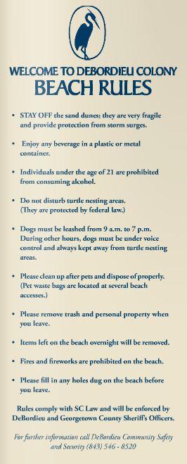DCCA Beach Rules