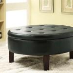 Round Tufted Upholstered Storage Ottoman Dark Brown Coaste