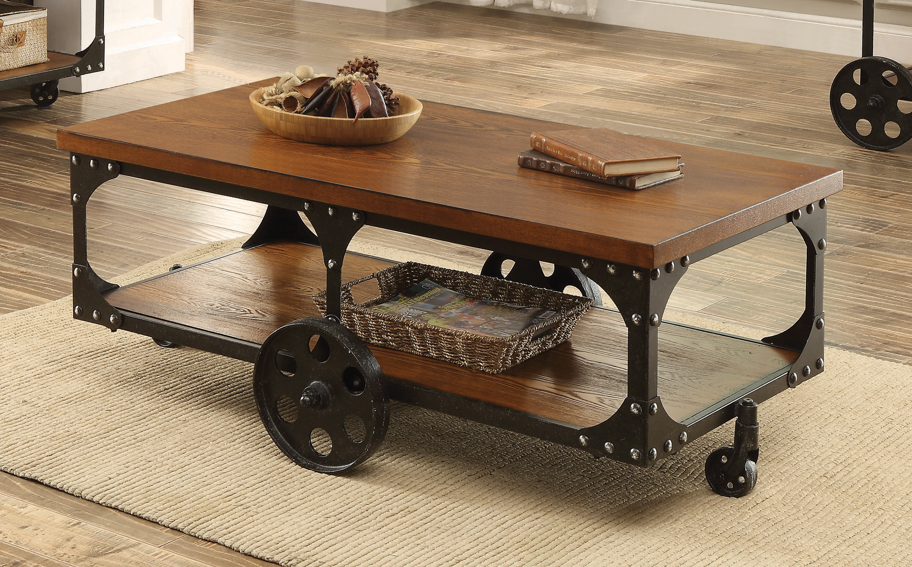 roy coffee table with casters rustic
