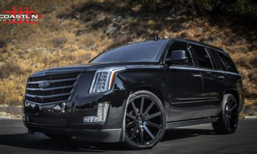 Escalade lowered with blackout package and Dub wheels