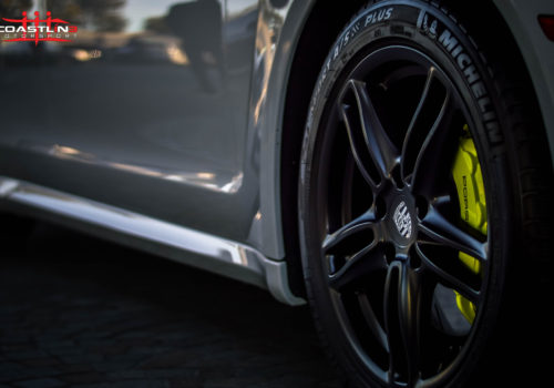 Porsche with Lime Green Brake Calipers