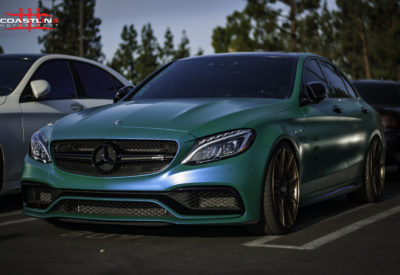 Motor 4 Toys Lowered Mercedes Benz with Vinyl Wrap and Wheels
