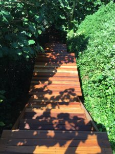 timber staircase to beach